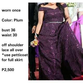 Plum plus size gown