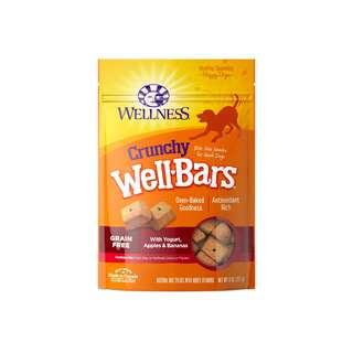 WELLNESS – WELLBARS OVEN-BAKED BISCUITS DOG SNACKS YOGURT, APPLES & BANANAS 8OZ