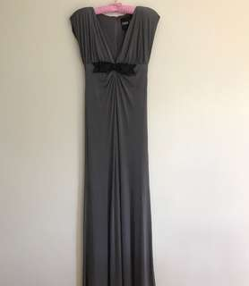 Alex Perry Light Grey V-Neck Polyester Elegant Long Dress