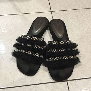 black swirl sandals