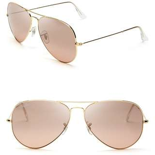 Authentic Rayban Aviator Sunglasses in Rose Gold Lens
