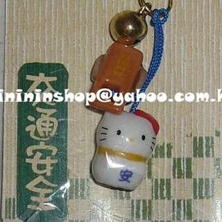 包郵 全新購自日本 原裝Sanrio Hello Kitty 保佑交通安全藍色響鈴電話繩