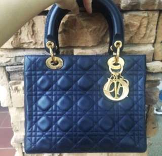 Lady Dior medium navy blue vintage authentic