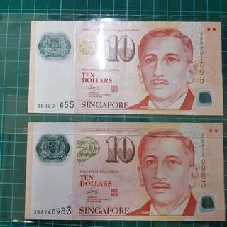 Singapore 🇸🇬 $10  3 BA  3 BB  This banknote is used