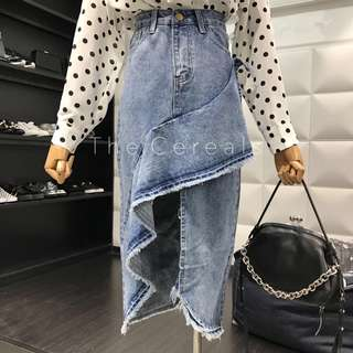 TC1852 Korea Irregular Denim Skirt (Blue,White)