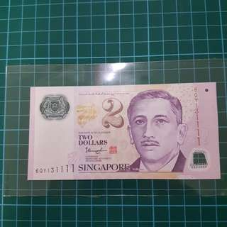 Singapore 🇸🇬 $2  6 QY 131111 This banknote is used