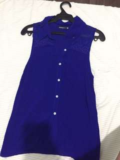 Shana Royal Blue Collared Sleeveless Blouse