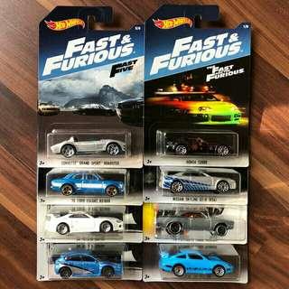 2017 Hot Wheels Fast Furious set 8pcs
