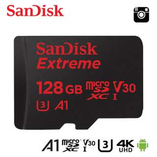 Sandisk Extreme 128GB A1 U3 4K Class 10 MicroSD up to 100MB/S Memory Card Camera