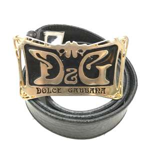 Dolce & Gabbana Black Leather Belt with Buckle