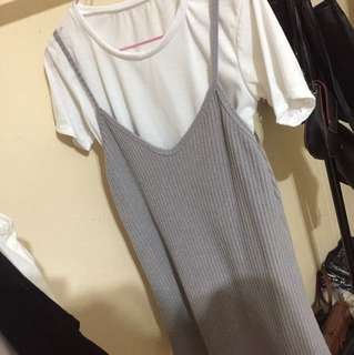 two piece grey korean dress