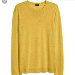 H&M Yellow Basic Knit Top