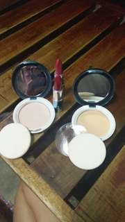 Two way cake foundation in the the shafe of #1 and #6 plus lipsticks in the shade of #4