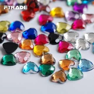 3mm Heart Shape Crystal Rhinestones Nail Art Gems With Case For Acrylic Tips UV Gel DIY Deco