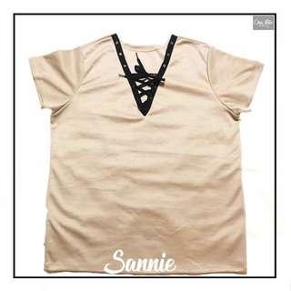 Sannie Plus Size Crosslaced Blouse XL-3XL