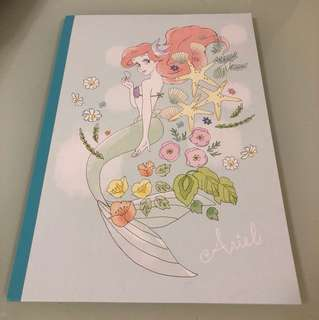 Disney Ariel 美人魚 小魚仙 B5 note book 單行簿 made in japan