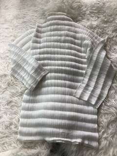 Pleats please By Issey miyake ivory Top