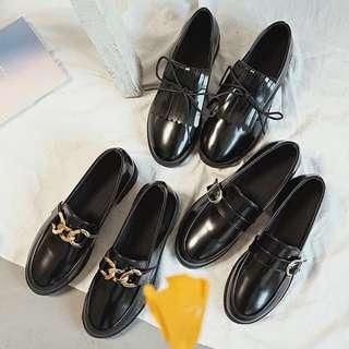 Korean Leather Black Shoe (PO)