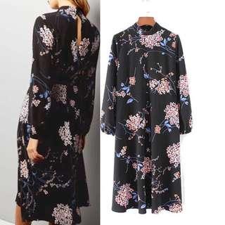 Long-sleeved collar printed dress female spring new retro floral long skirt