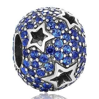 Code MS62 - Stars Bead 100% 925 Sterling Silver Charm, Chain Is Not Included, Compatible With Pandora