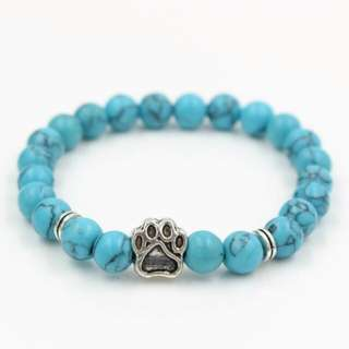 Turquoise paw dog Howlite Stone Mala Bead Yoga Bracelet Pitbull Dog Hand Paw Men Women 8mm Elastic Rope Bead Bracelet Fashion Jewelry