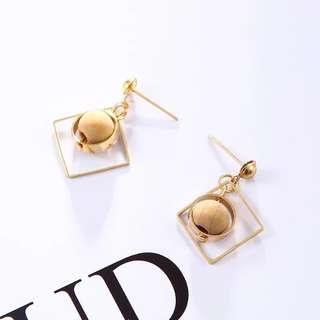 Gold Silver Geometric Sphere Work Earrings