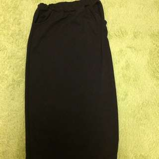 棉質後開衩長裙