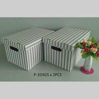 灰白線條硬式瓦楞紙收納盒 2pcs/組。