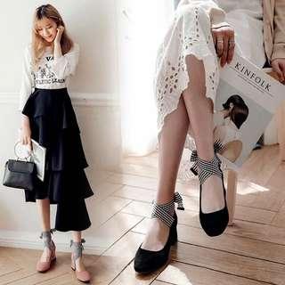 韓版時尚腳環綁帶方頭粗跟女鞋子絨面淺口中跟休閒少女單鞋