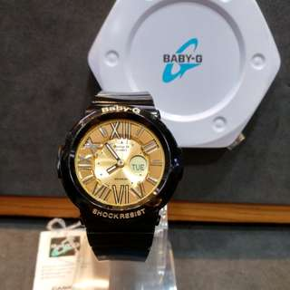 * FREE DELIVERY * Brand New 100% Authentic Casio BabyG Black Gold Baby G Ladies Watxh Baby-G BGA160 1B BGA160-1BDR