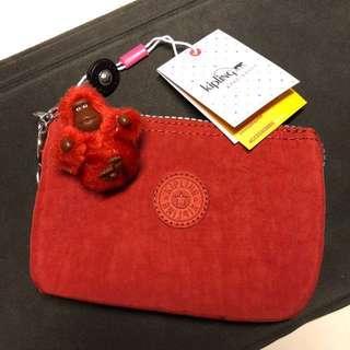 Kipling Creativity S Red Rust 紅色萬用化妝袋連猩猩鎖匙扣