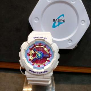 * FREE DELIVERY * Brand New 100% Authentic Casio BabyG Gloss White & Pink Dial Baby G Ladies Watxh Baby-G BA112 7 BA112-7ADR
