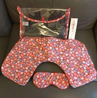 Cath Kidston 旅行必備 頸枕眼罩透明袋套裝 粉紅碎花 Travel set (正貨有tag)