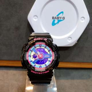 * FREE DELIVERY * Brand New 100% Authentic Casio BabyG Gloss Black & Pink Dial Baby G Ladies Watch Baby-G BA112 1 BA112-1ADR