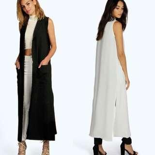 BOOHOO White Maxi Duster Coat Sleeveless Collared Tailored Oversize Split Side Long Overcoat Jacket