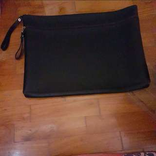 Brand New Black Laptop/ Document Pouch/Bag With Brown Zip Linings