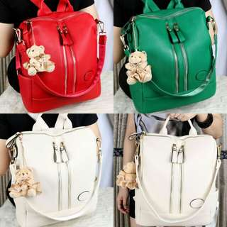 ZARA Convertible Backpack Double Strap Clemence Leather  7335*