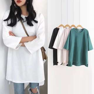 ☘️Loose Fitting European women's solid color short-sleeved round neck long bottoming shirt T-shirt🍀