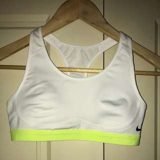 Nike Woman's White Sports Bra with Flourescent Yellow Band