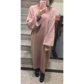 🚚 Zora.kr 微澎袖 梅果色 長版針織 洋裝