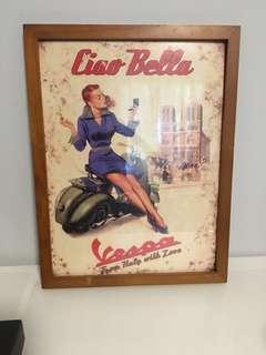 Vespa framed vintage pic