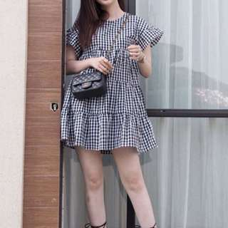 Megagamie MGG Mary Tier Dress In Black Gingham
