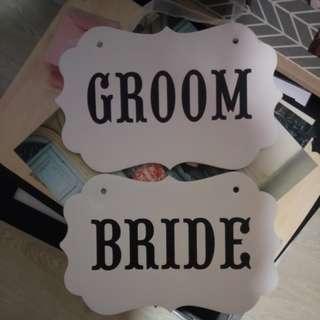 Groom bride hanging deco