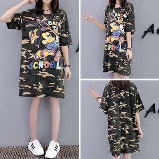 (XL~5XL) Women's Camo cartoon letter long beaded cotton T-shirt dress
