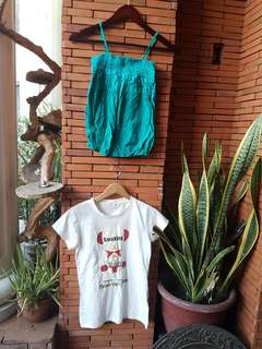 Babo teal summer top and white shirt