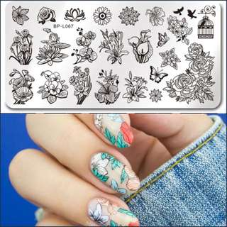 Floral nail stamping plate