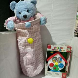 Wind-up musical house toys and Hanging Teady Bear storage