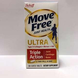 [美國直送] [現貨] Schiff Move Free Ultra Triple Action (含UC-II膠原蛋白+HA透明質酸) 30粒