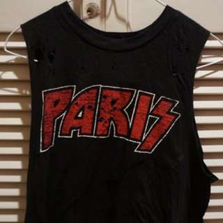 Paris Distressed Muscle Tank