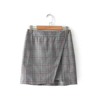 checkered plaid slit skirt